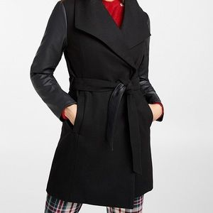 Recycled wool waterfall wrap coat leather detail